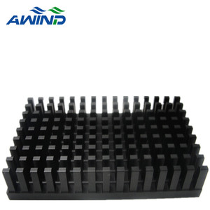 High power extrusion AL 6063 heatsink with black anodizing finish for lighting equipment