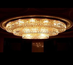 Guzhen factory luxury Large Oval 3 layers meeting room crystal ceiling lamp banquet lighting hotel chandelier zhongshan