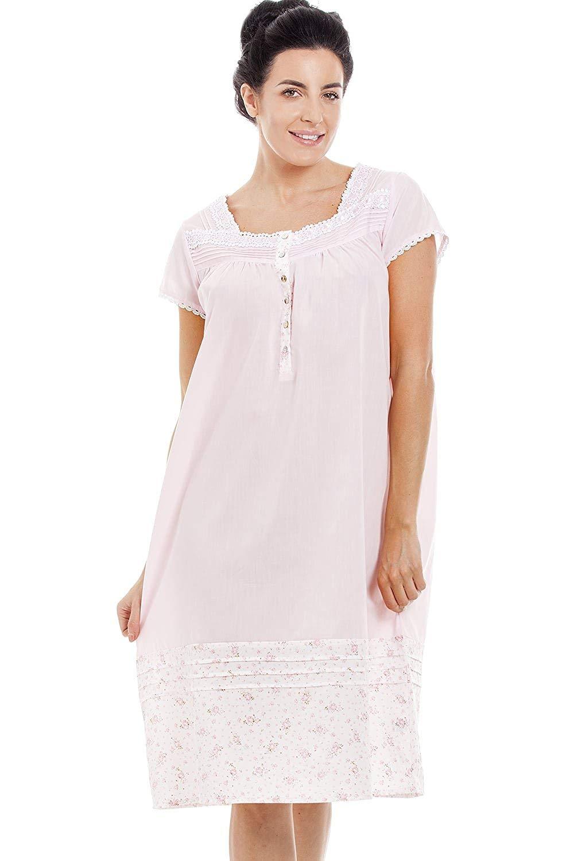 49b24cc955 Camille Light Pink Short Sleeve Floral Nightdress