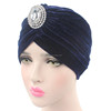 New Women Velvet Turban With Diamante Brooch Muslim Headscarf Hat Alloy Diamond Velvet Indian Cap Hat TJM-165