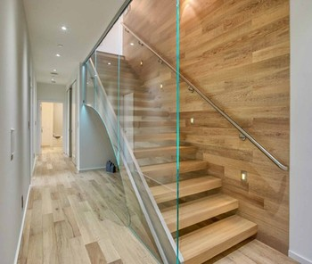 Floating Staircase System Wood Tread Amp Tempered Glass Wall