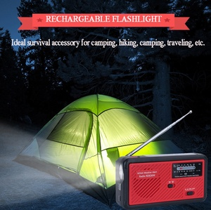 Wind Up NOAA Weather Alert Dynamo Solar Radio with 1000 mAh power bank and LED flashlight