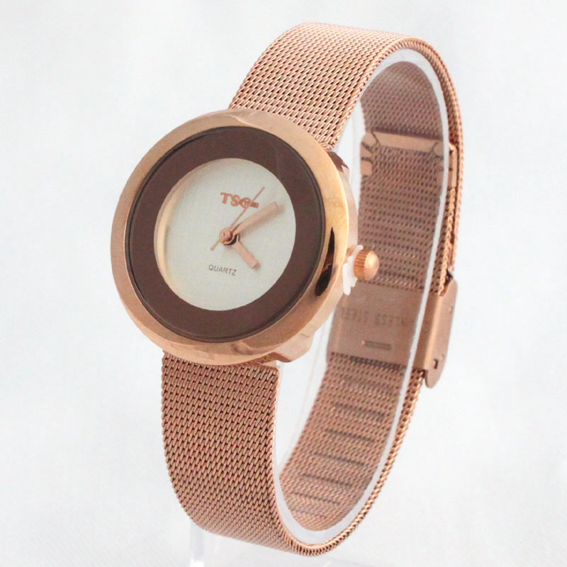 1pcs Rose Gold High Quality Fashion Casual Lady Women Girl Stainless Steel Band Bracelet Luxury Dress Analog Watch Z04GW