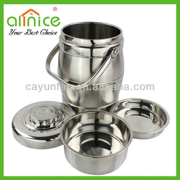 3 Capacity Drum-shaped stainless steel food flask/vacuum lunch box