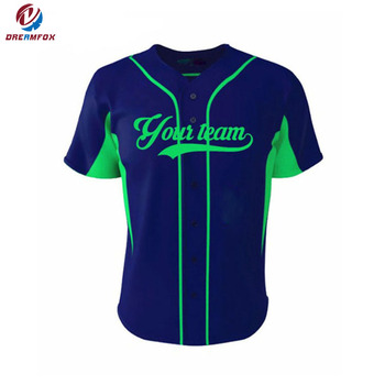 Custom sublimatie blank baseball shirts, groothandel 100% polyester baseball jersey ontwerp logo fabricage