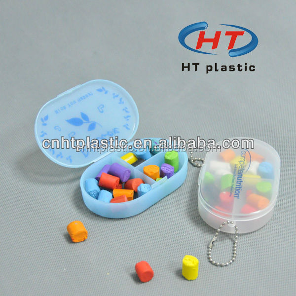 HTP304 Hot Sales For Customized 3 Compartment Pill Box/ 3 Cases Cheap Pill Box Keychain