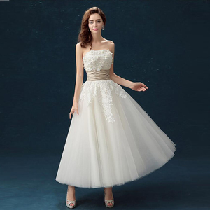 2018 Hot Sell Ankle Length Casual Wedding Gowns A Line Cheap Strapless Party Bridesmaids Dress