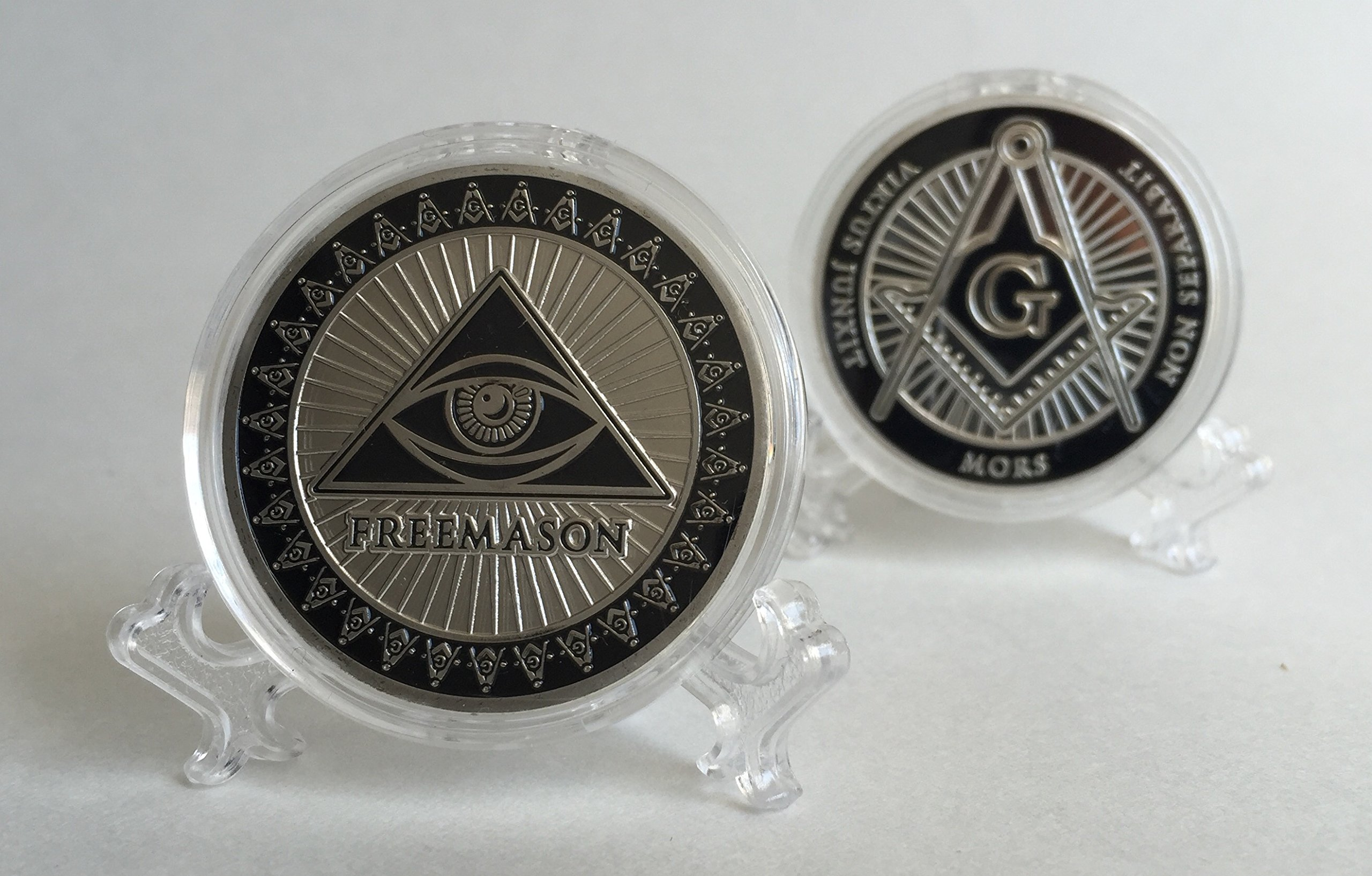 Freemason Silver color Collectible Challenge Coin by Lucky Donk, Poker Card Guard, Golf Ball Marker, paperweight