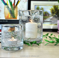 wholesale hand blown bubbled personalized decal tempered plain glass candle holder