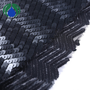 super soft black polyester spandex sequin embroidery power mesh fabric