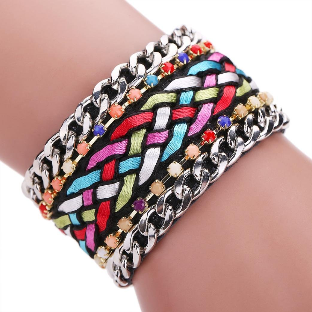 Sunfei ®Women Bohemian Crystal Magnetic Clasp Bracelets Wrist Chains (Multicolor)