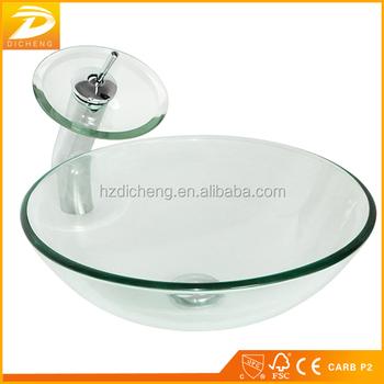 Modern Round Vessel Transparent Bathroom Glass Wash Basin Bowl Sink