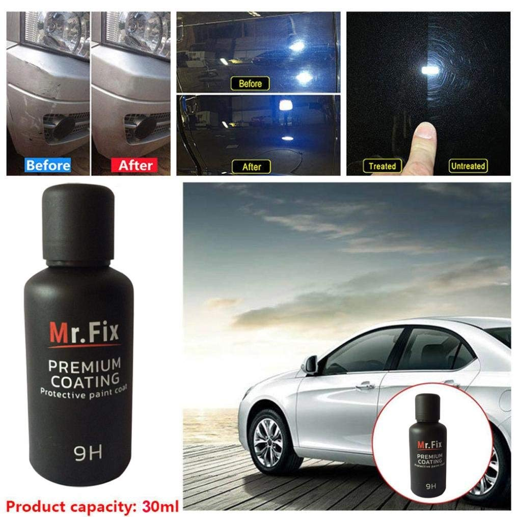 Quaant 9H Car Polish Oxidation Liquid Ceramic Coat Super Hydrophobic Glass Coating Paint Care Polishing Glasscoat Anti-Scratch (Black)