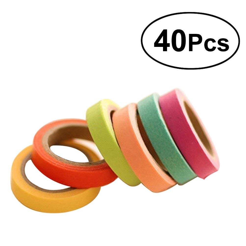 ULTNICE Washi Tape Candy Color Decorative Adhesive Sticker Masking Tapes for DIY Arts Scrapbooking Craft Gift Wrapping Labelling 40PCS