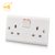 British standard double electric wall switch socket