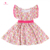 Triangle Print Fluttler Sleeves Tunic Dress Kids Clothing Wholesale Baby Girl Dresses