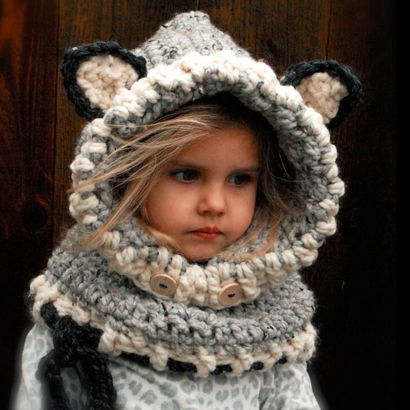 2017 Neue Winter Fox Kopfbedeckungen Häkeln Kinder Mützen Hüte Für ...