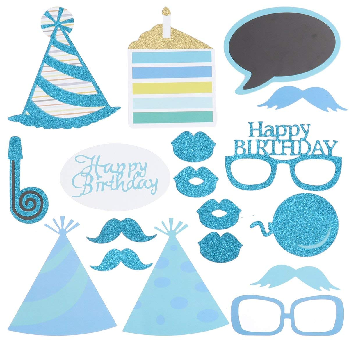 LUOEM 18 Pcs Birthday Photo Booth Props Glitter Birthday Celebrations Best Birthday Party Accessories Supplies for Birthday Baby Shower Party Favors (Blue)