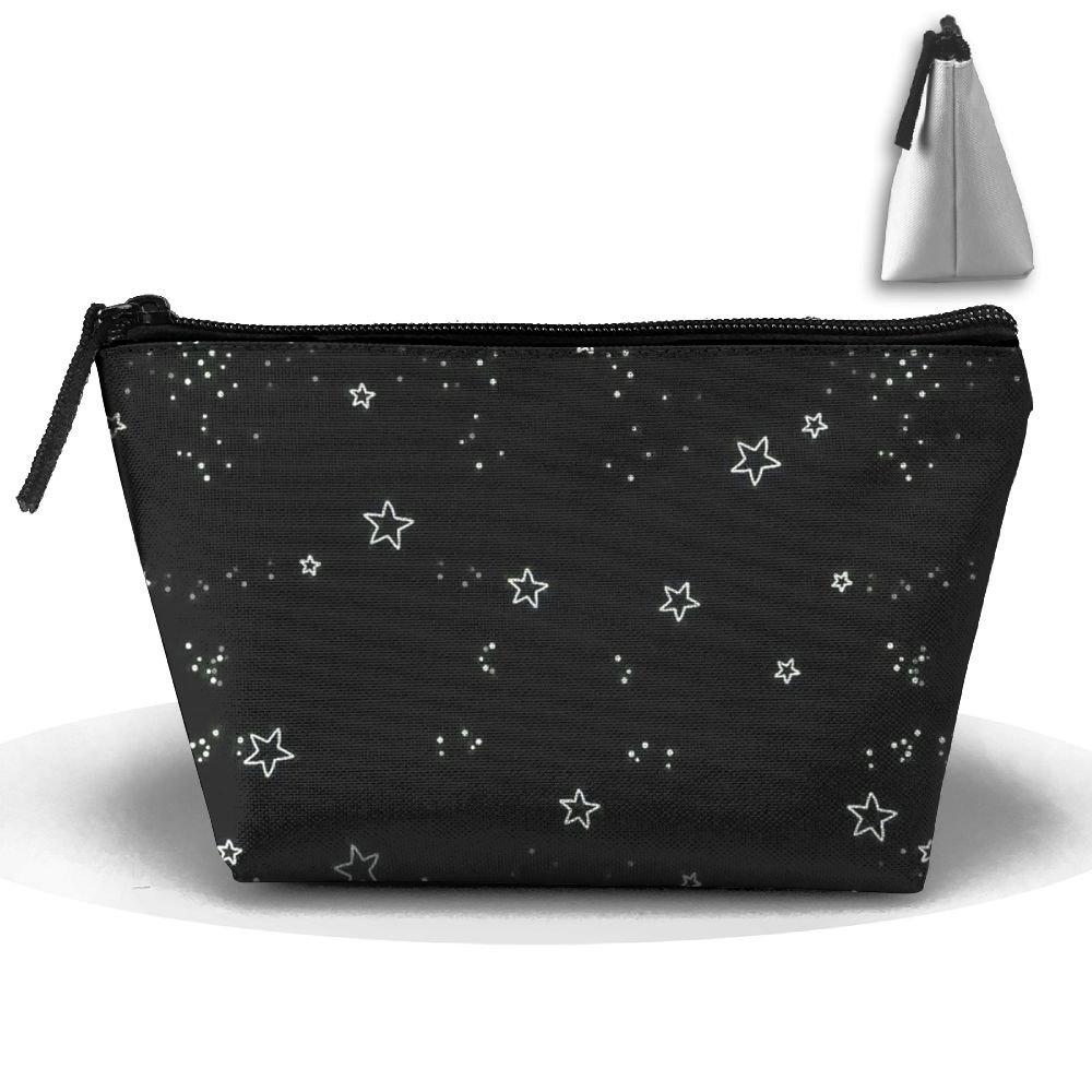 Get Quotations · MFTAZ Makeup Bag Wash Zipper Portable Pouch Black Shiny  Stars Travel Trapezoidal Storage Bag e33dc08a976a9