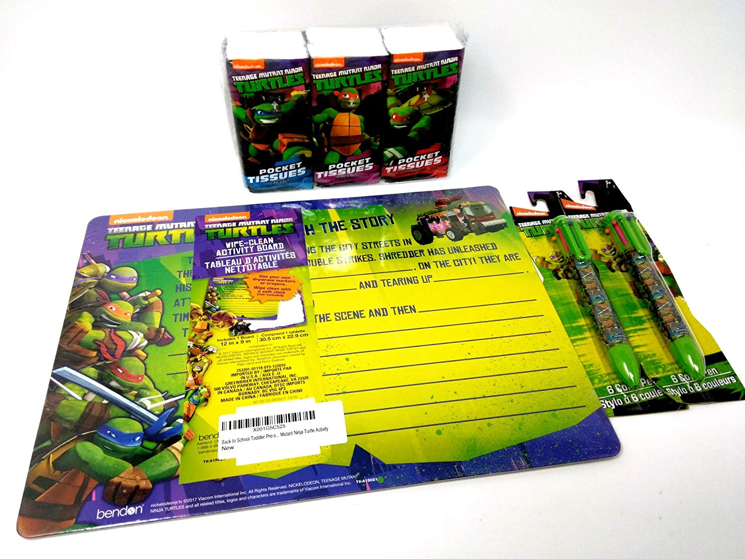 Back to School Toddler Pre-school Elementary School Dry Erase Board Pens (2) Tissues 3pc Teenage Mutant Ninja Turtles TMNT Ralpheal Leonardo Donotello Micheal Angelo
