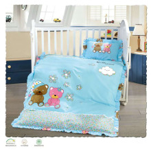 Hot sale cotton filling silk fabric baby crib duvet cover set printed bedding set duvet cover set printed