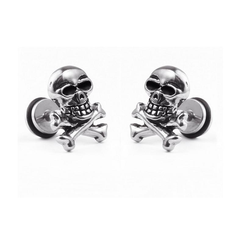 08d1539556e3 Hiphop Punk Rock personalizada de las mujeres de plata de acero de titanio  hueso pendientes de