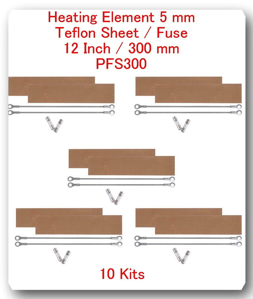 "(10 Kits) Replacement Elements for Impulse Sealer PFS-300 12""(10 Heating Elements 5MM + 10 Teflon Sheets+ 10 Fuses)"