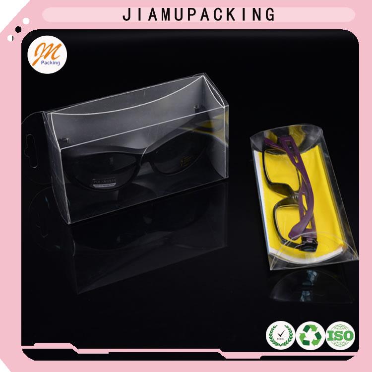Plastic folding box for sunglasses packaging