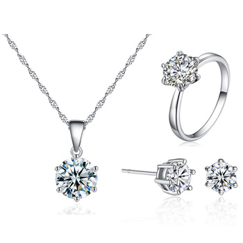 Fashion Silver Bridal Jewelry Sets For Women Accessory Cubic Zircon Necklace Rings Stud Earrings Jewelry Set Gift