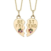 2019 new arrivals gifts bohemian rainbow best friend jewelry broken heart pendant necklace