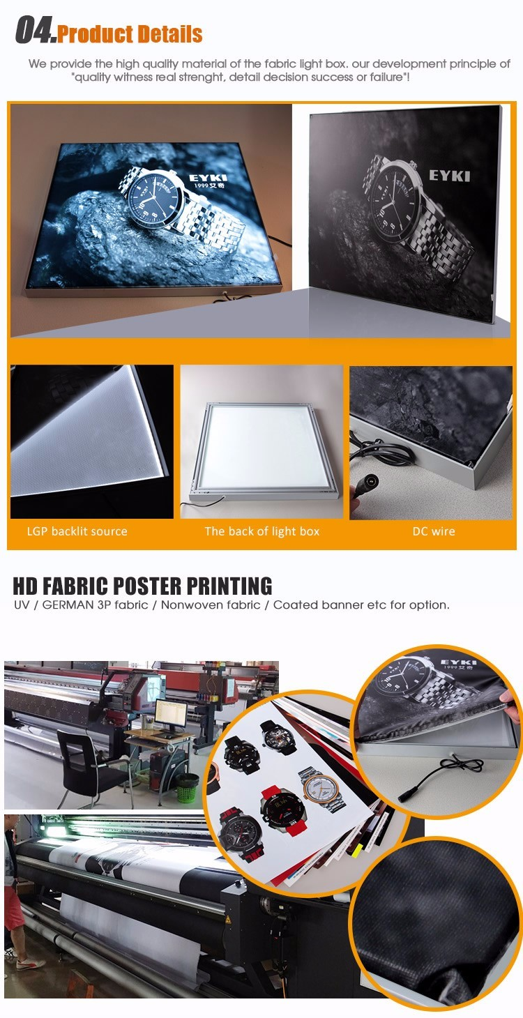 ultra-thin fabric led light box frame frameless photo picture frame , aluminum picture frame