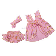 wholesale children's boutique clothing newborn baby clothes top and bloomer with gold polk dots