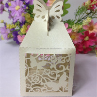 2015 hollow shower birthday new born gift event favor box bridal wedding souvounir butterfly laser cutting candy box