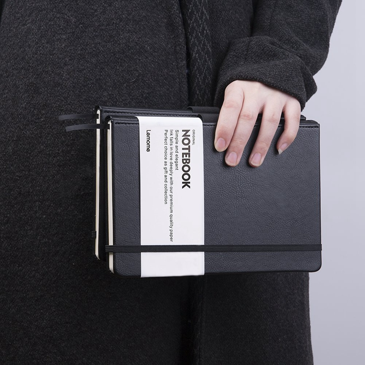 A5 B5 Office Bullet Journal Leather Notebook With Pen Loop