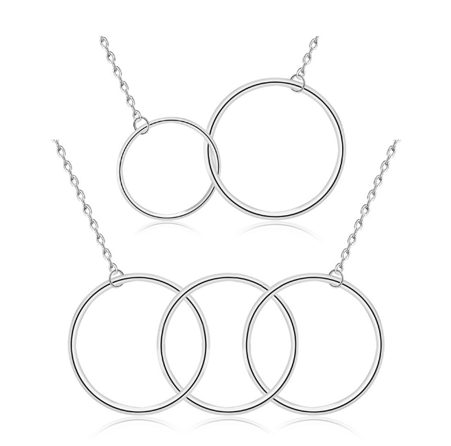 Plain Necklaces Sterling <strong>Silver</strong> 925 Two 3 Circle Necklace