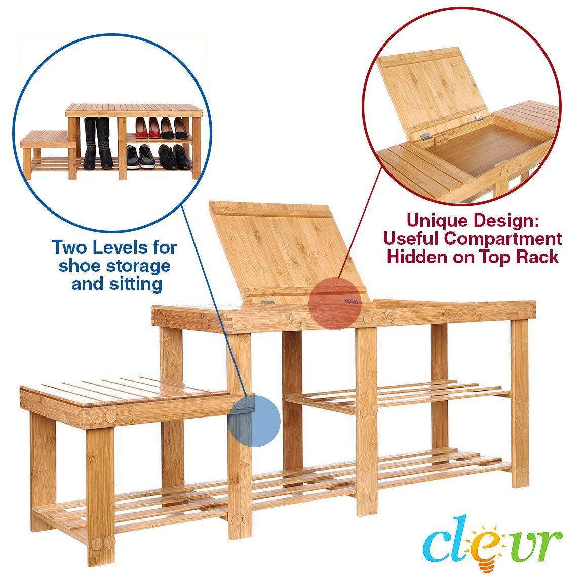 "Clevr Natural Bamboo Shoe Storage Rack Bench with 2-Tier Storage Drawer on Top, 44"", Storage Drawer on Top, Shoe Organizer Entryway Seat Storage Shelf Hallway Furniture"