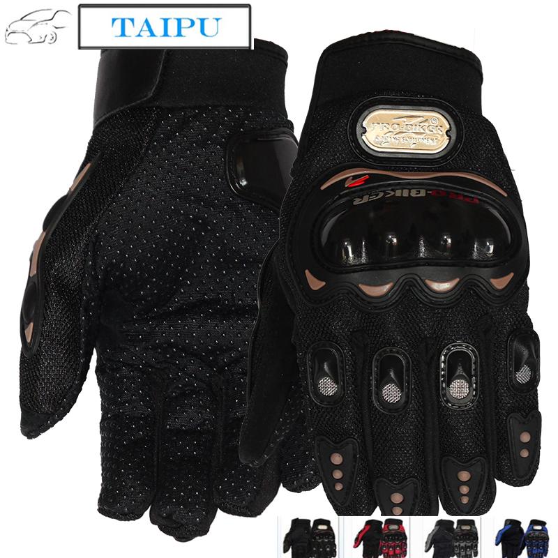 Black Carbon Fiber Pro-Biker Bike Motorcycle Motorbike Racing Gloves Full M Size
