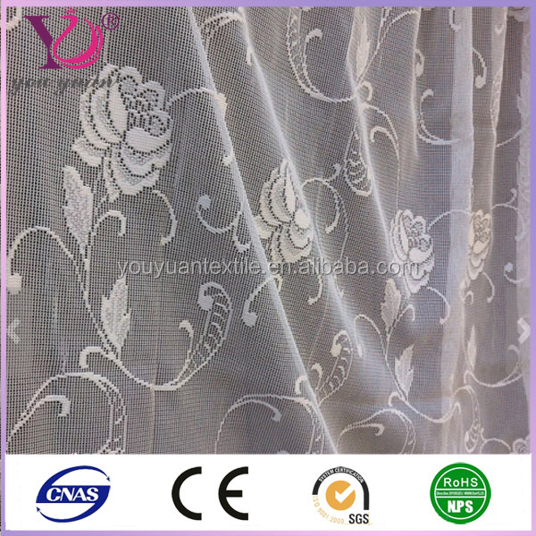 German Vintage White Lace Curtain Fabric Floral Rose Pattern