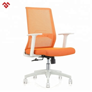 360 degree swivel middle back nylon base and armrest black mesh computer office flexible back chairs