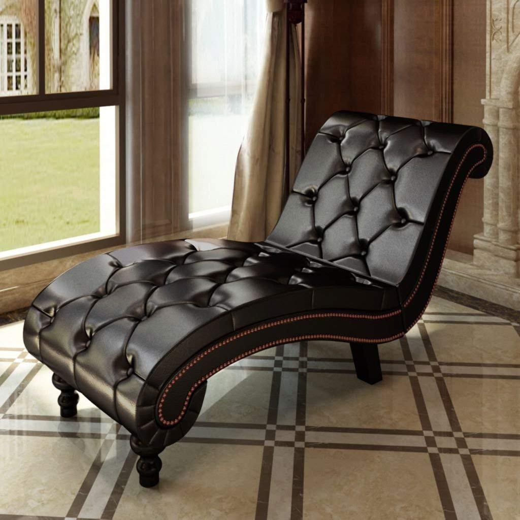 """Chesterfield Brown Chaise Lounge Button Tufted Chaise Lounge Chair Chaise Lounge Overall dimensions: 57"""" x 20.5"""" x 30.3"""" (L x W x H)"""