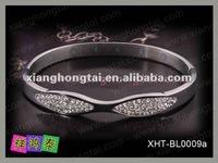 new fashion women stainless steel diamond crystal body magnet cuff bangle bracelet jewelry