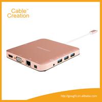 Thunderbolt 10 ports USB C Type-C 3.1 Hub to 4K HDMI RJ45 USB 3.0 VGA Mini DisplayPort Stereo SD Card Hub Adapter