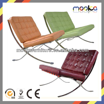 Stainless Steel Full Cow Leather Lounge Chair Barcelona Chair Mkl01a