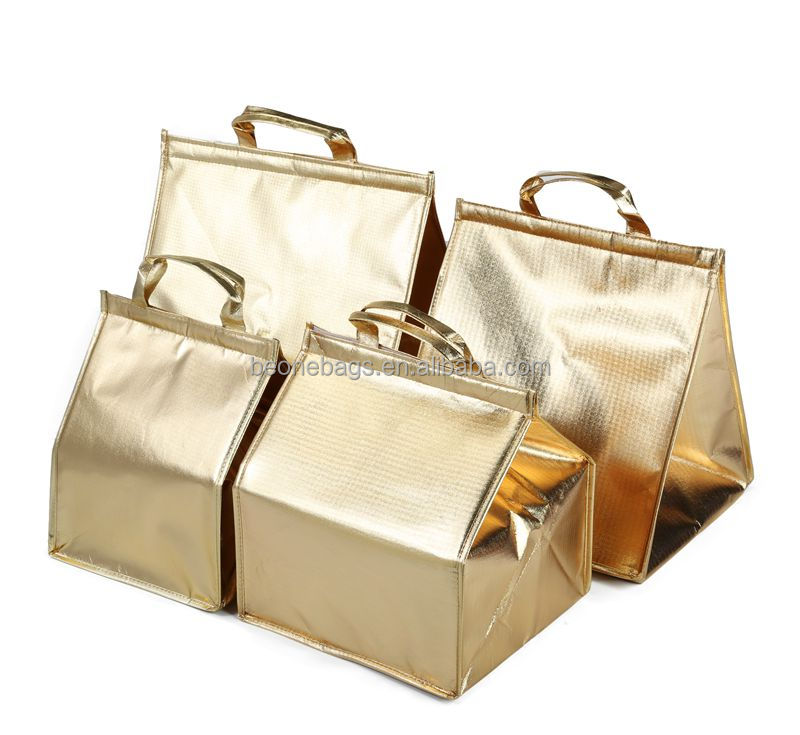 Folding Gold Lamination Best Insulated Non-Woven Lunch Delivery Bag