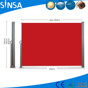 Home&Garden Retractable Folding Vertical Wind Red Screen Privacy Divider Side Awning