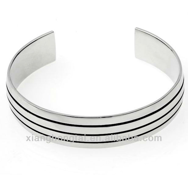 Stainless Steel Metal Bangles, Simple and Decent Ringent Bangle Bracelet with Zebra Stripes