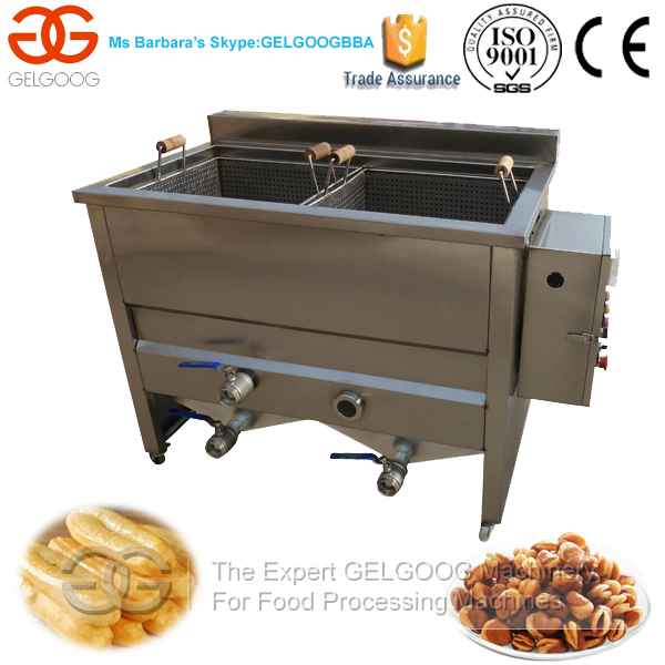 Double Tanks Commercial Coated Peanut Peanut Fryer Machine/Electric Oil-Water Snack Fryer Machine