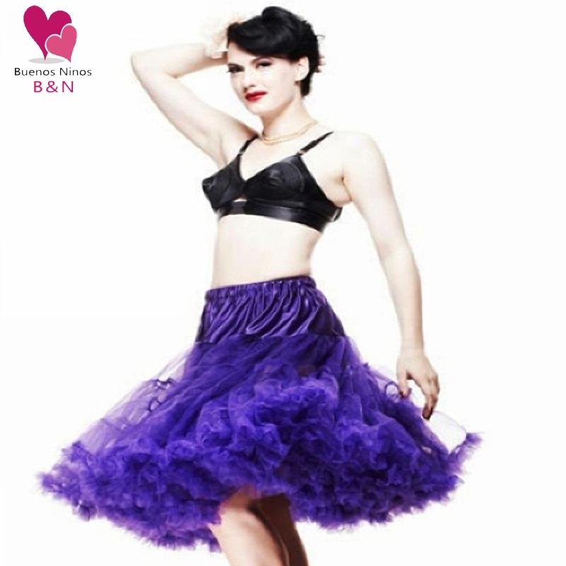 20 Colors 65cm Soft Fabric Women Pettiskirt Long Sexy Pleated Chiffon Petticoat Rockabilly skirt Tulle Tutu
