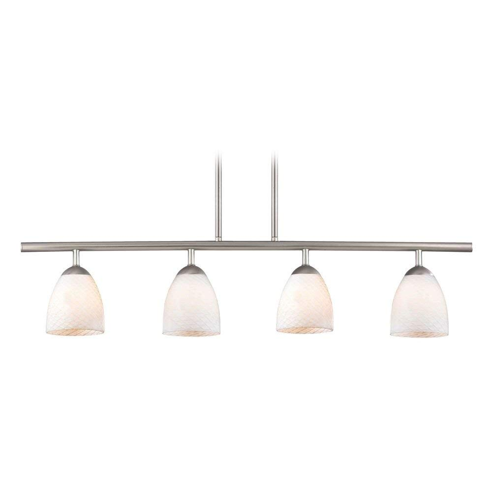 Modern Linear Pendant Light with 4-Lights and White Glass in Satin Nickel Finish