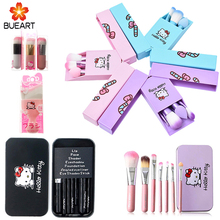 cosmetic korean Hello kitty makeup brushes 7pcs makeup brush set iron box makeup tool